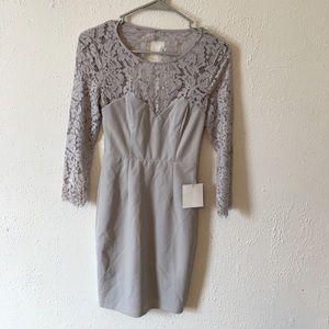 Lulus gray lace open back longsleeve bodycon dress